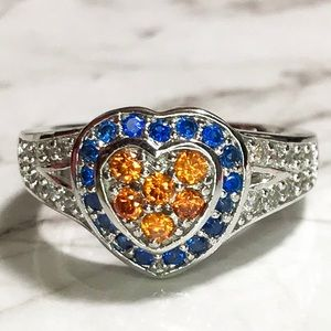 Jewelry - NEW Sterling Silver Blue and Orange Heart Ring